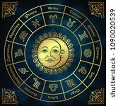 zodiac circle with horoscope... | Shutterstock .eps vector #1090020539