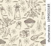 seamless pattern with jasmine... | Shutterstock .eps vector #1090023185