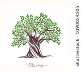 hand drawn olive tree. vector... | Shutterstock .eps vector #1090024505