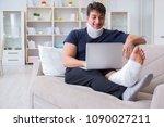 man injured in car crash...   Shutterstock . vector #1090027211