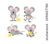 Stock vector cute mouse and cheese vector set little rat with food animal wildlife cartoon character 1090027784
