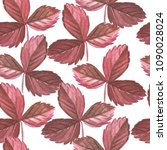 red strawberry leaves... | Shutterstock . vector #1090028024
