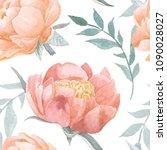 peony blooming watercolor... | Shutterstock . vector #1090028027