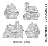 medieval ancient buildings set... | Shutterstock .eps vector #1090028111