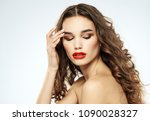beautiful young woman with... | Shutterstock . vector #1090028327