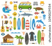 surfing elements and equipment. ... | Shutterstock .eps vector #1090029554