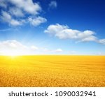 wheat field and sun in the sky  | Shutterstock . vector #1090032941