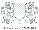 medieval coat of arms. two... | Shutterstock .eps vector #1090033844