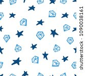 blue gemstone and star signs... | Shutterstock .eps vector #1090038161