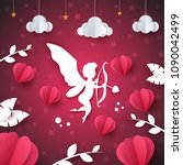 cupid  angel  heart   paper... | Shutterstock .eps vector #1090042499