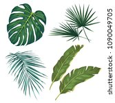 set of tropical leaves.... | Shutterstock . vector #1090049705