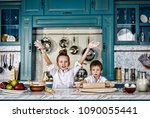 happy family funny kids are... | Shutterstock . vector #1090055441
