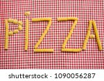 writing pizza made with grains... | Shutterstock . vector #1090056287