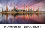 oil refinery at sunset with... | Shutterstock . vector #1090058354