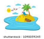 airplane flying over the island ... | Shutterstock .eps vector #1090059245