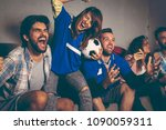 group of young friends watching ... | Shutterstock . vector #1090059311