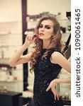 sensual woman with lipstick ...   Shutterstock . vector #1090061465