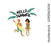 vector summer illustration.... | Shutterstock .eps vector #1090062434