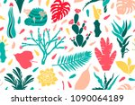seamless pattern with cacti ... | Shutterstock . vector #1090064189
