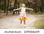 Child in the begin of the fall. - stock photo