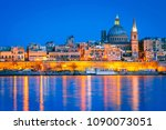 valletta  malta  skyline from... | Shutterstock . vector #1090073051