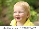 boy infant smile with blue eyes ... | Shutterstock . vector #1090073639