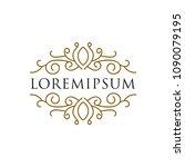 monogram frame logo template | Shutterstock .eps vector #1090079195