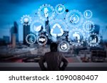 sustainable development with... | Shutterstock . vector #1090080407