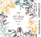 vector almond background. hand... | Shutterstock .eps vector #1090081115