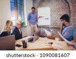 businessman at whiteboard... | Shutterstock . vector #1090081607