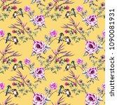 watercolor birds on the... | Shutterstock . vector #1090081931