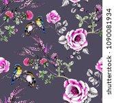 watercolor birds on the... | Shutterstock . vector #1090081934
