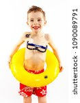 baby boy portrait with swimming ... | Shutterstock . vector #1090089791