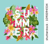 hello summer floral poster.... | Shutterstock .eps vector #1090094534