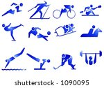 sport symbol icons in blue | Shutterstock . vector #1090095