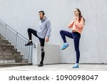 a young man and a girl are... | Shutterstock . vector #1090098047