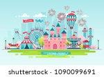 amusement park  urban landscape ... | Shutterstock .eps vector #1090099691