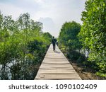 people walking on the mangrove... | Shutterstock . vector #1090102409