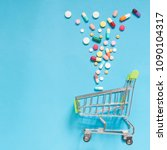 shopping trolley cart w ... | Shutterstock . vector #1090104317