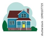 vector flat suburban american... | Shutterstock .eps vector #1090107725