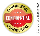 red confidential badge with... | Shutterstock .eps vector #1090112945