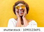 fashion african woman smiling... | Shutterstock . vector #1090123691