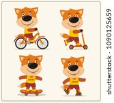 set of isolated funny fox on... | Shutterstock .eps vector #1090125659