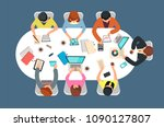 managed team in office meeting... | Shutterstock .eps vector #1090127807