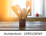 kitchen utensils in the... | Shutterstock . vector #1090128569