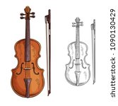 classic violin with bow vector. ... | Shutterstock .eps vector #1090130429