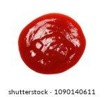 red ketchup spreading  splashes ... | Shutterstock . vector #1090140611