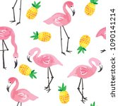 pink ink flamingo and yellow...   Shutterstock .eps vector #1090141214