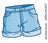 funny and cute denim short... | Shutterstock .eps vector #1090144307