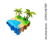isometric nature landscape with ...